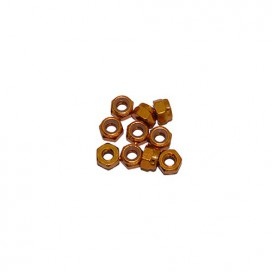 4 mm. ALU. NYLON NUT GOLD (10 pcs)