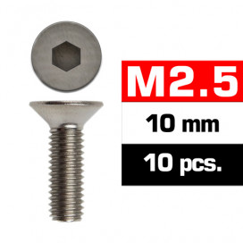 M2,5x10mm FLAT HEAD SCREWS (10 pcs)