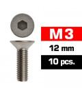 M3x12mm FLAT HEAD SCREWS (10 pcs)