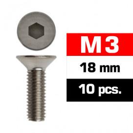 M3x18mm FLAT HEAD SCREWS (10 pcs)