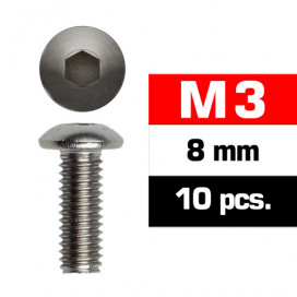 M3x8mm BUTTON HEAD SCREWS (10 pcs)