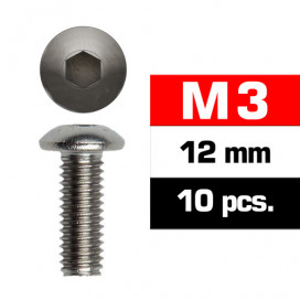 M3x12mm BUTTON HEAD SCREWS (10 pcs)