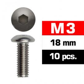 M3x18mm BUTTON HEAD SCREWS (10 pcs)