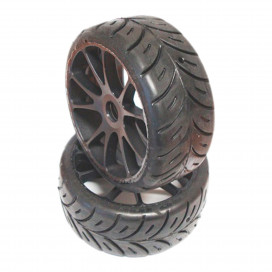 1/8 GT COMPETITION SUPER SOFT PRE-MOUNTED ON MULTI SPOKE BLACK WHEEL (2 pcs)