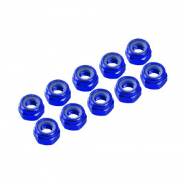 3 mm. ALU. NYLON NUT BLUE (10pcs)