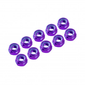 3 mm. ALU. NYLON NUT PURPLE (10pcs)