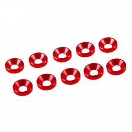 4 mm. ALU WASHER RED (10 pcs)