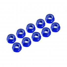 4 mm. ALU.. NYLON NUT BLUE (10 pcs)