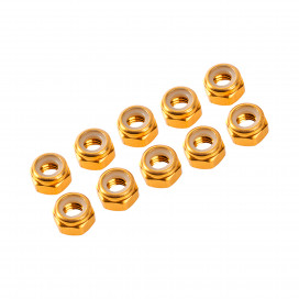4 mm. ALU. NYLON NUT GOLD (10 pcs)