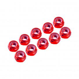 4 mm. ALU. NYLON NUT RED (10 pcs)