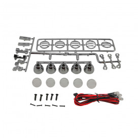 KIT LUCES LED TECHO REDONDO 115mm 1/10 CRAWLER - SILVER