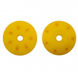 16mm CONICAL SHOCK PISTONS YELLOW (1.2mm x 7 angled holes) (2pcs)